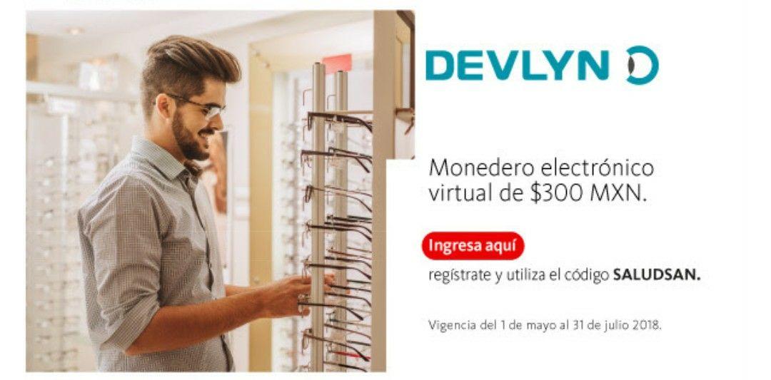 Devlyn: 300 pesos en monedero electrónico con tarjeta Santander para compra mínima de $1800