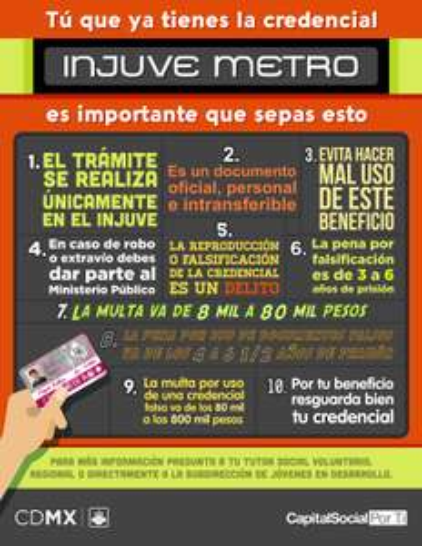 ¡Tu ru ruuu !  Viaja gratis en el Metro de la  CDMX, RTP y Tren Ligero con INJUVE