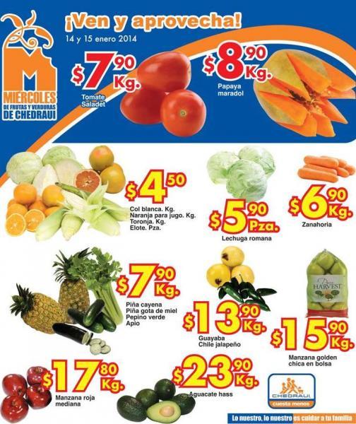 Ofertas de frutas y verduras en Chedraui 14 y 15 de enero. tomate $7.90 y más