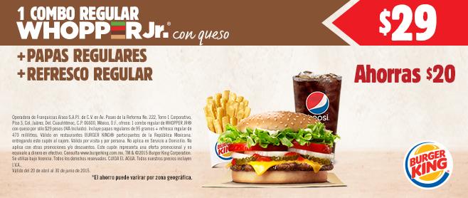 Burger King: 2 conos por $8, 2 papas medianas por $20, combos con descuento y más.