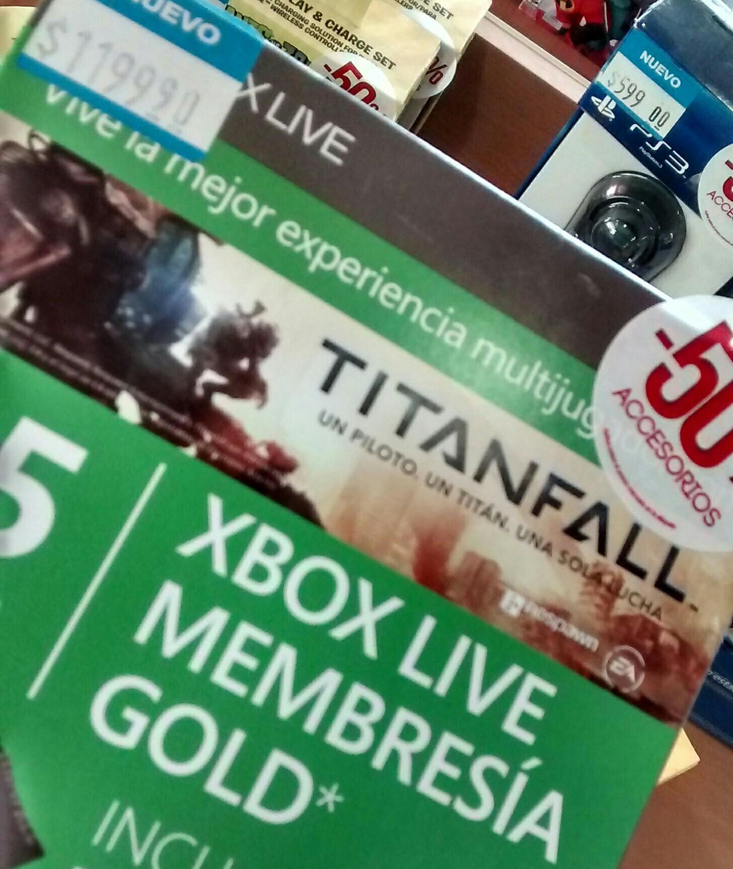 Blockbuster: 25 meses de Xbox live Gold + Playera titanfall+ skins $600 y Wii Speak $99