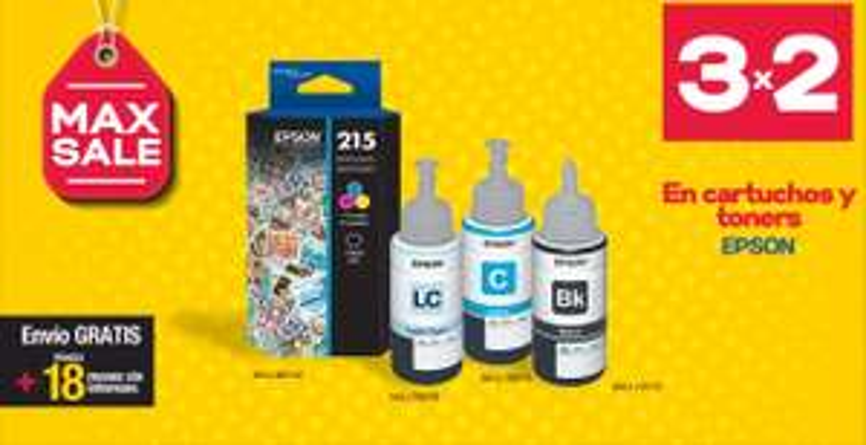 Officemax: 3x2 en cartuchos y toners Epson