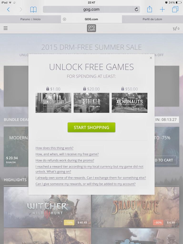 GOG: juegos gratis para PC con compras mínimas