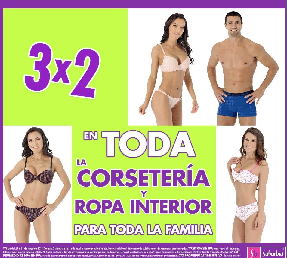 Suburbia: 3 x 2 en toda la corsetería y ropa interior para toda la familia