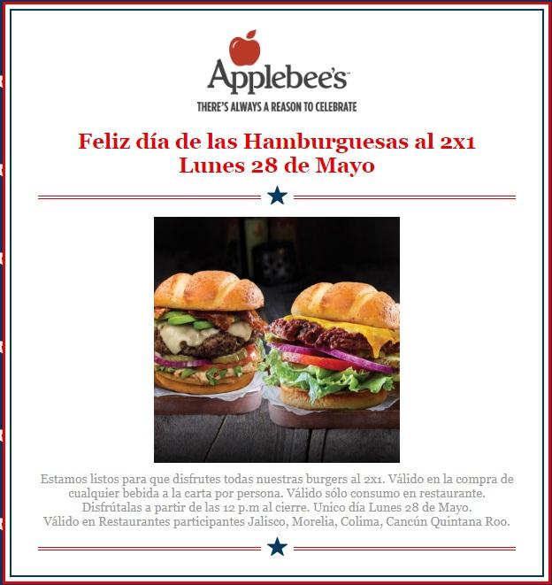Applebees:  2 x 1 Hamburguesas en 28 de mayo