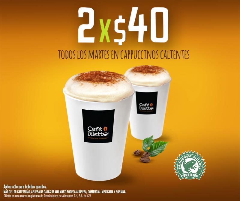 Café Diletto: Martes 2 Cappuccinos calientes por $40