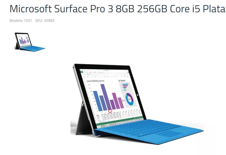 Office Max Mexico: DE EXHIBICION, Microsoft Surface Pro 3 8GB 256GB Core i5 Plata