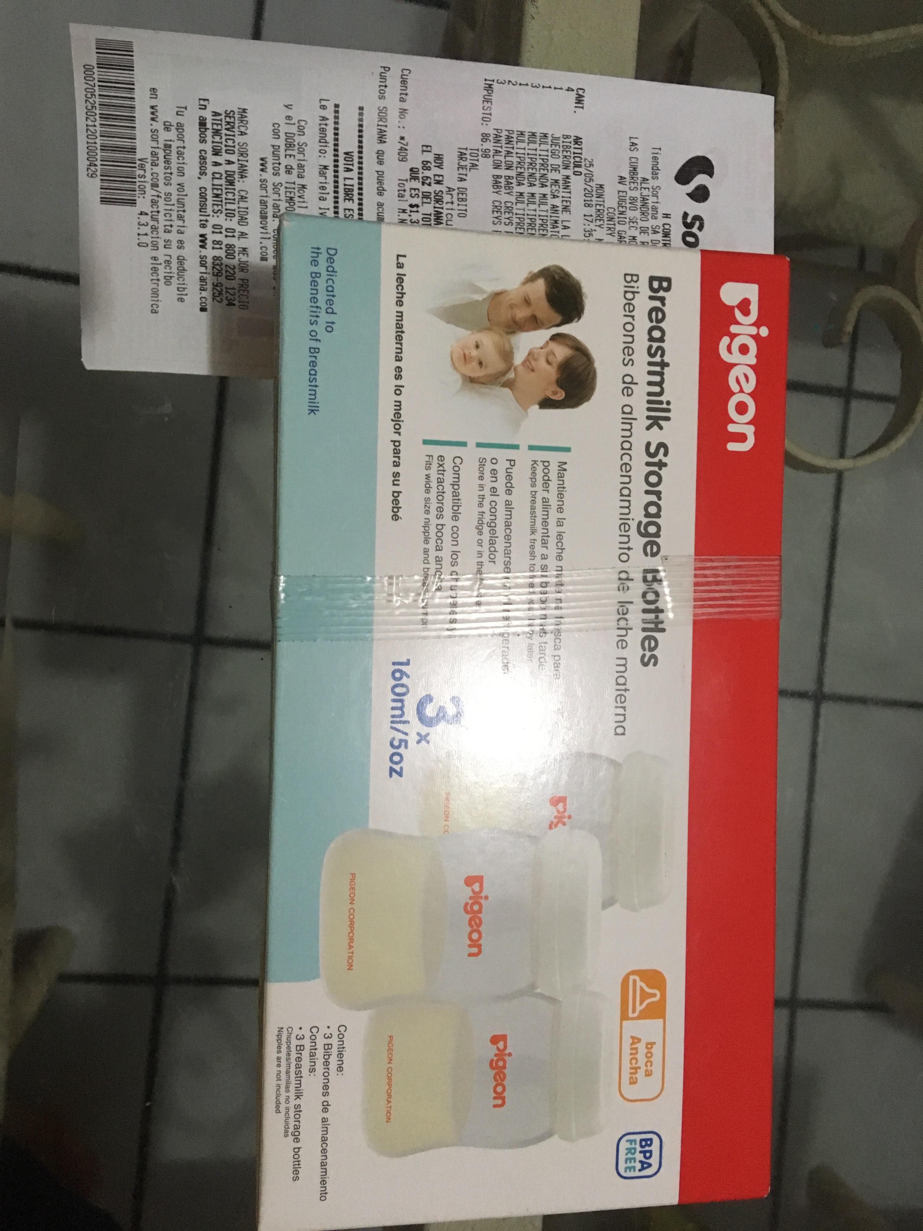 Soriana: Biberón de almacenamiento de leche materna