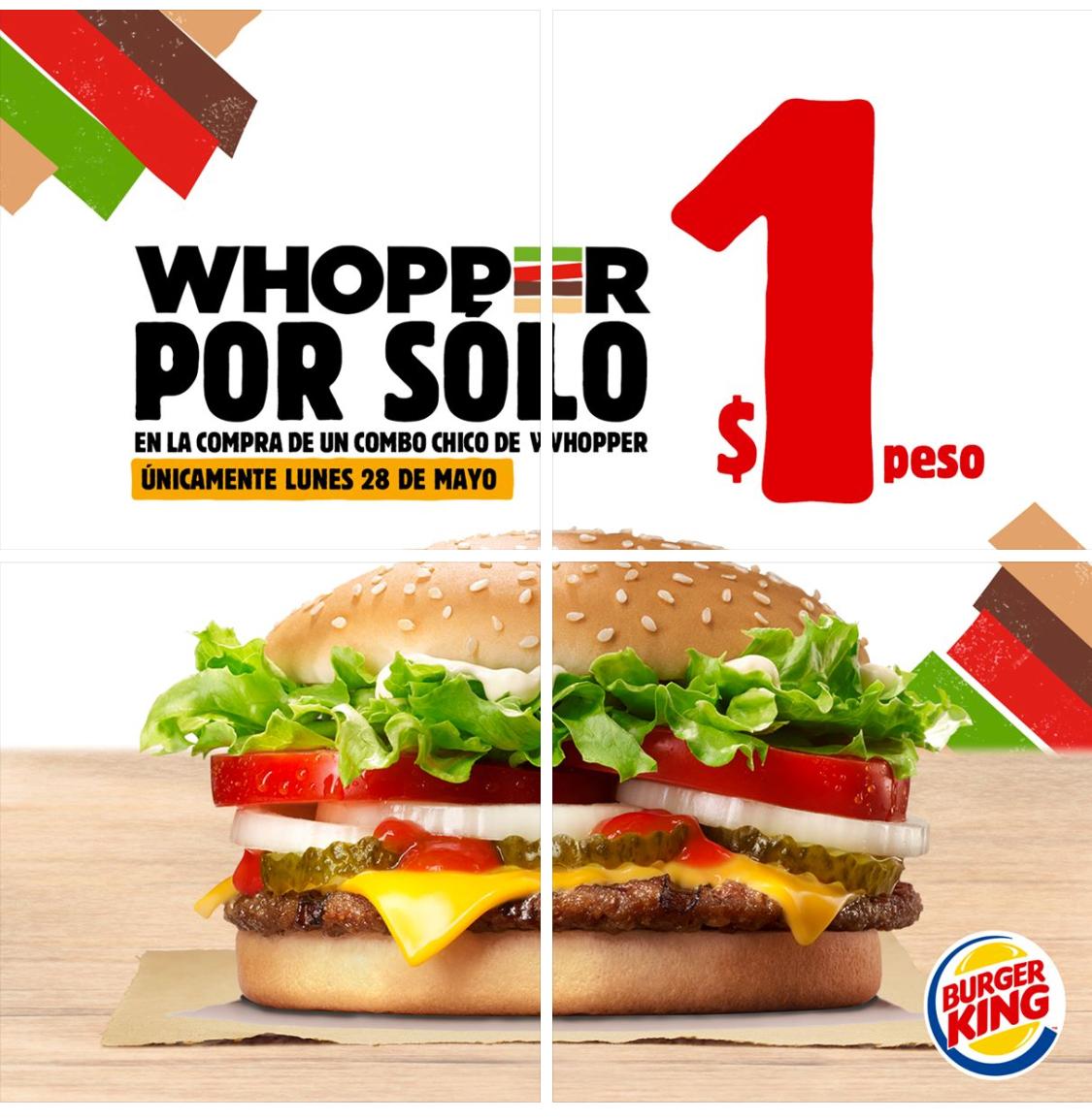 Burger King: Whopper con queso a $1 en la compra de un combo chico el 28 de mayo