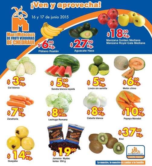 Ofertas de frutas y verduras en Chedraui 16 y 17 de junio