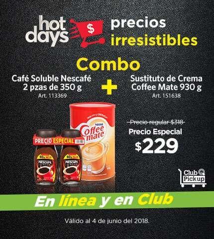 Sam's Club: Nescafe 350gr 2 piezas mas Coffeemate 930gr.