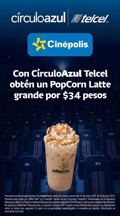 Cinepolis: Cafe PoCorn Latte a 34 pesos