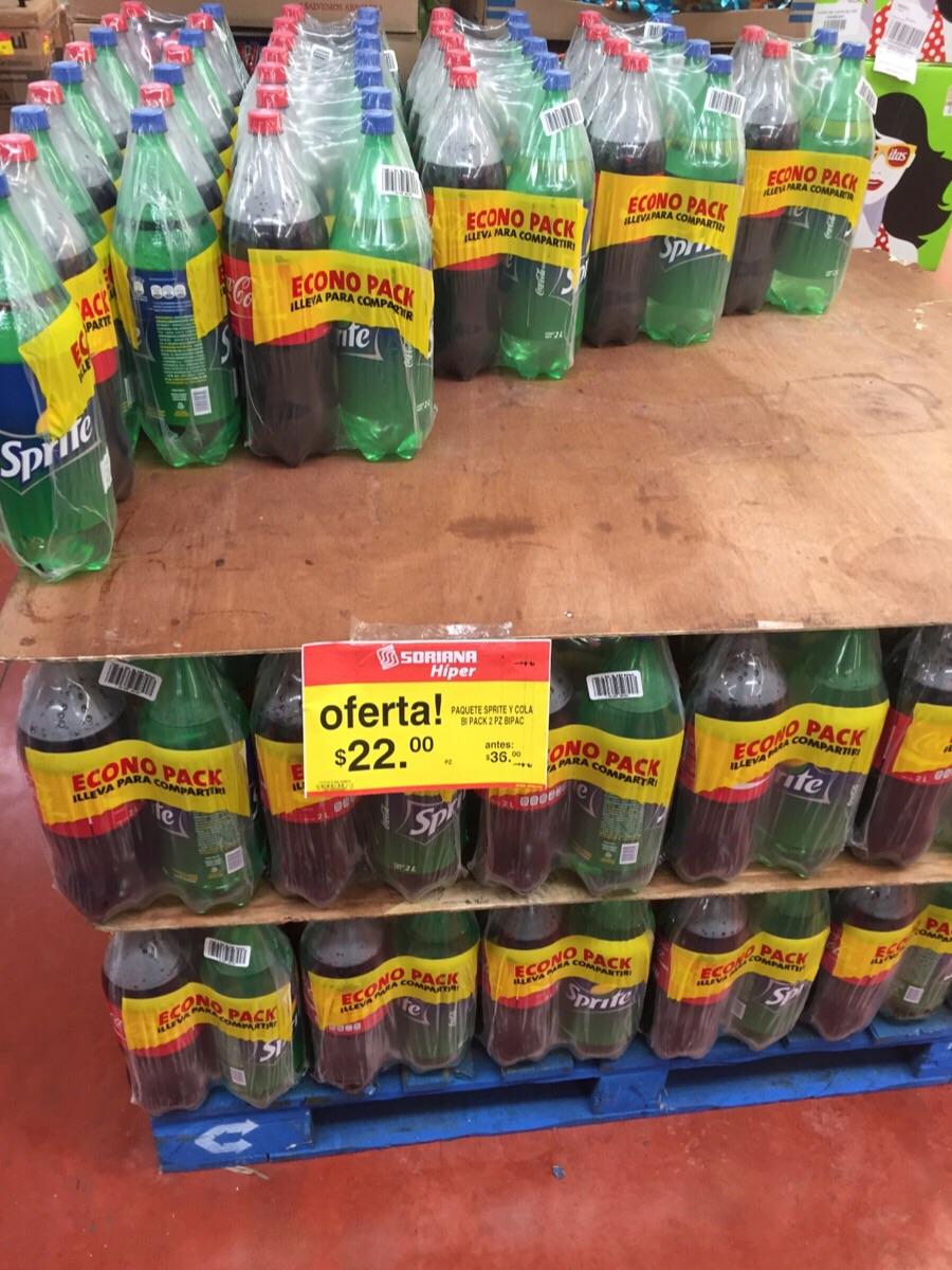 Soriana: Pack de Coca-Cola de 2L + Sprite de 2L a $22