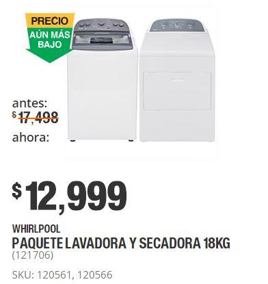 Hot Sale 2018 Home Depot: Combo lavadora y secadora Whirlpool de 18 kg