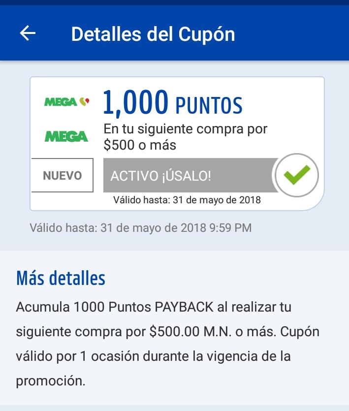 Payback: Mega Soriana 1000 puntos en siguiente compra de $500 y $200 puntos en 1,2,3 comprando 5 veces desde Payback