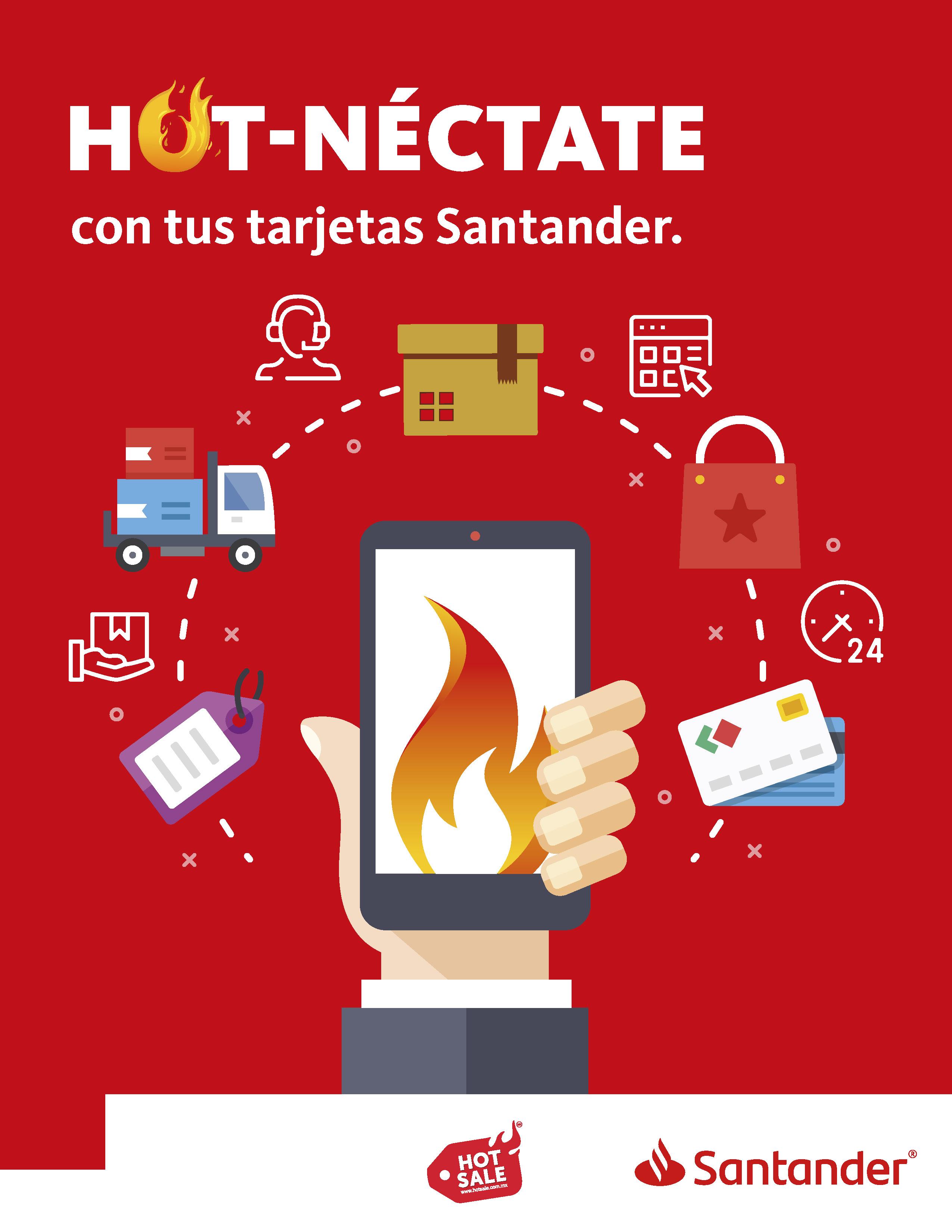 Promociones del Hot Sale 2018 pagando con Santander: $500 de bonificación en compras de $5,500 ó más