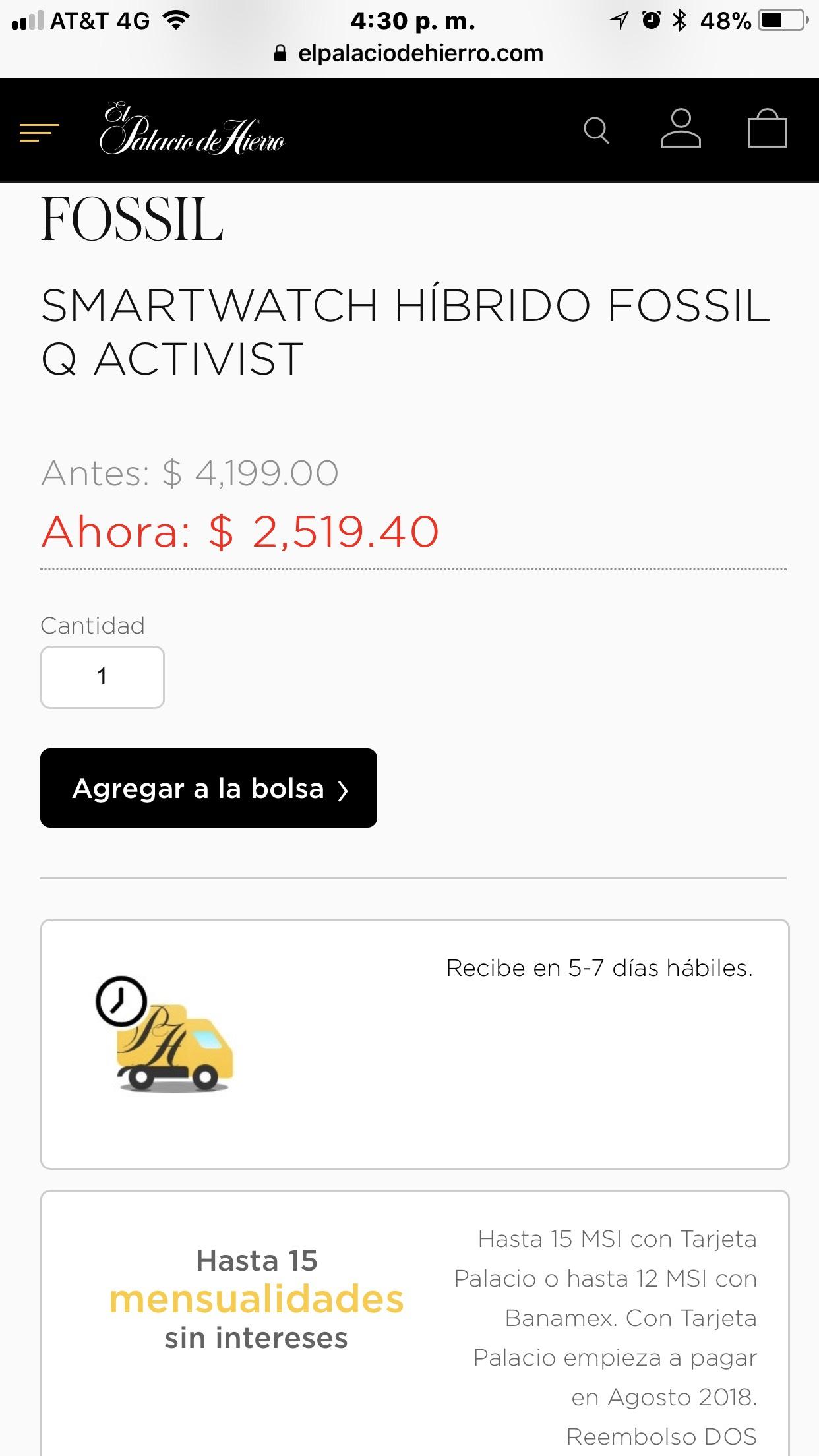 Hot Sale en El Palacio de Hierro: SMARTWATCH HÍBRIDO FOSSIL Q ACTIVIST