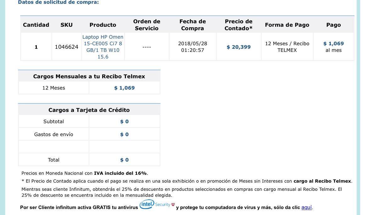 Telmex online: Laptop HP Omen 15-CE005