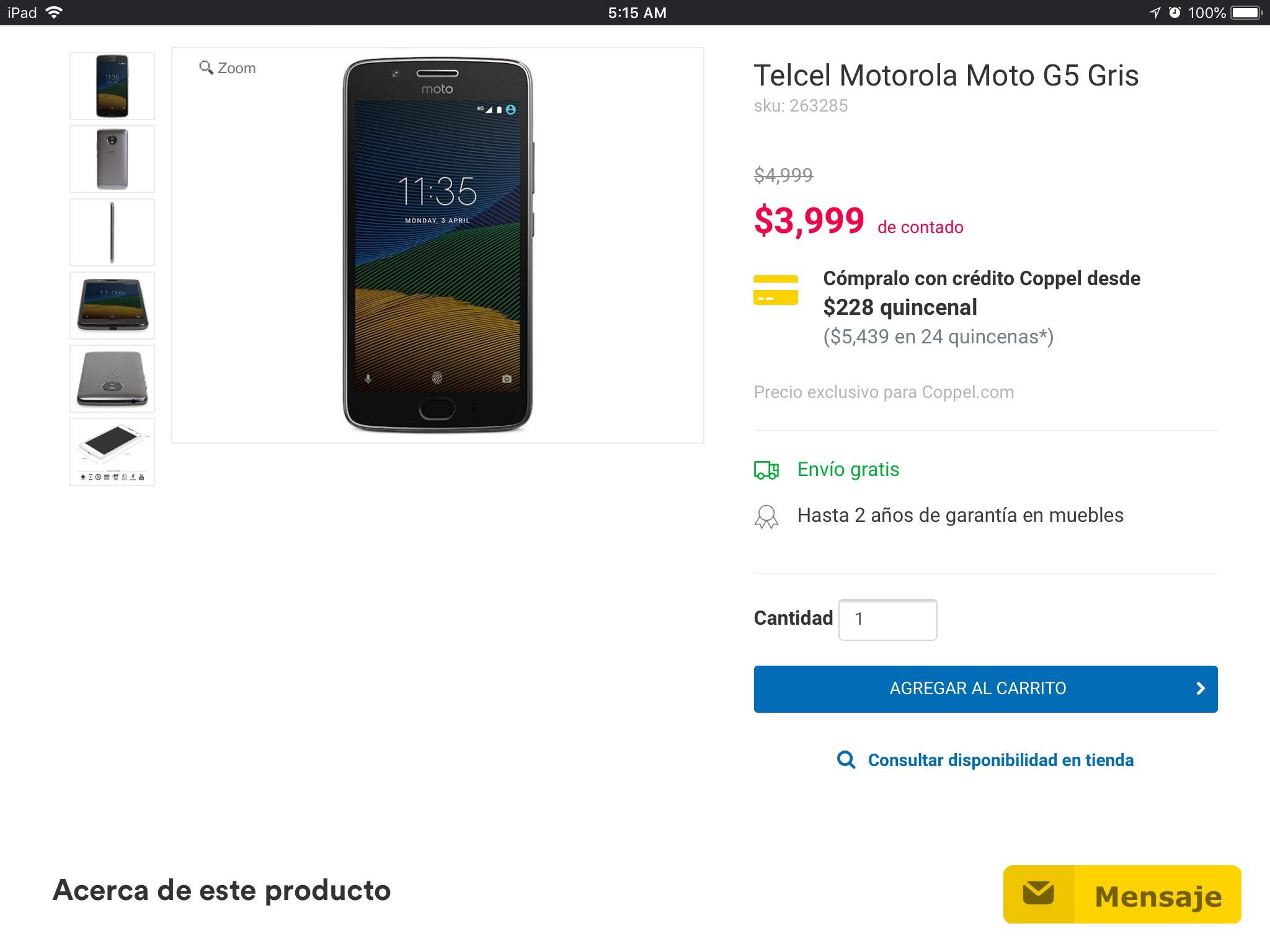 Hot Sale Coppel: Moto G5