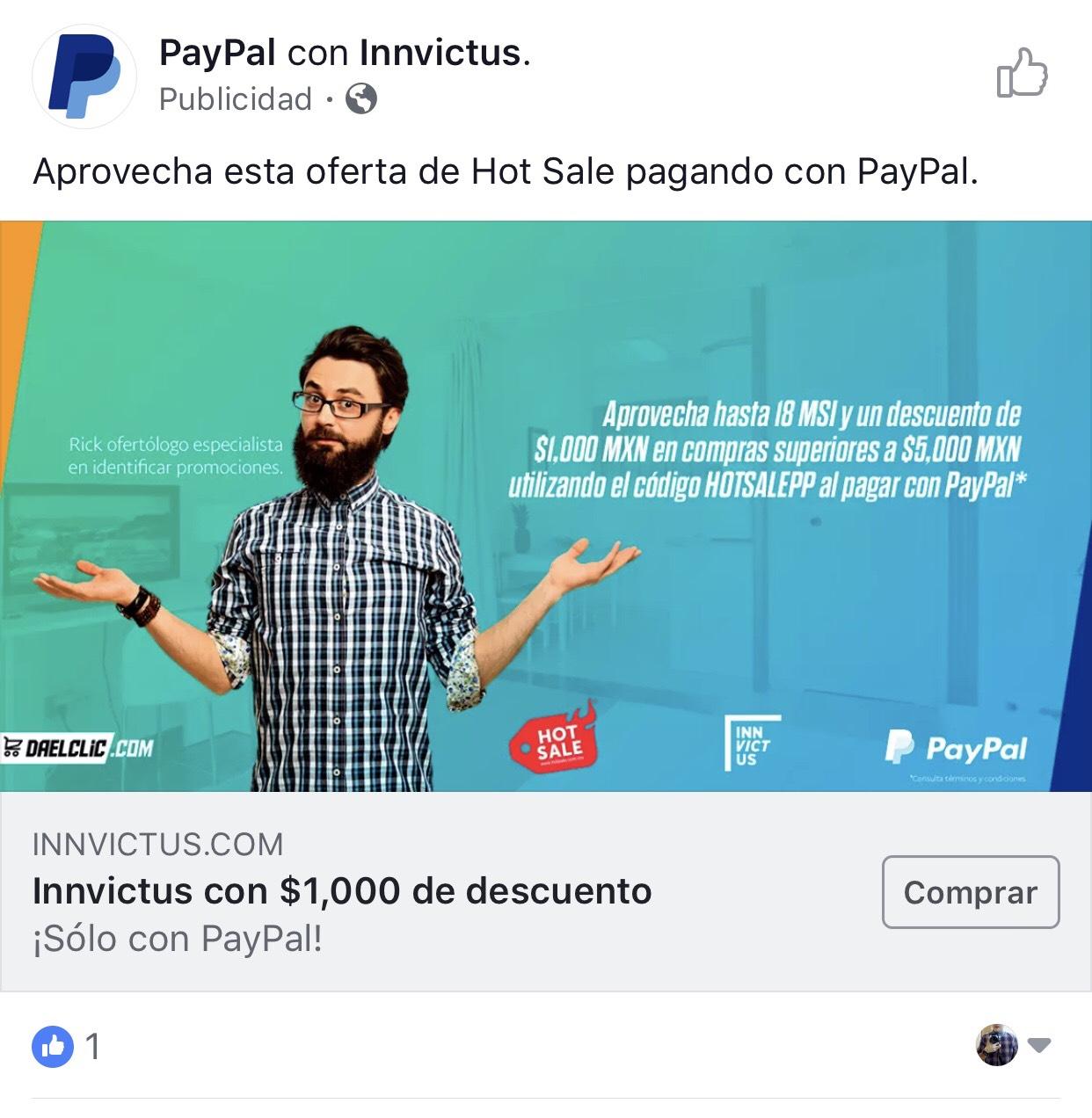 Hot Sale 2018 en Innvictus: Descuento de $1000 pagando $5000 con PayPal