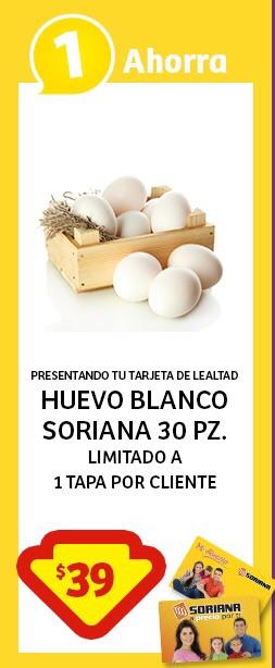 Soriana Súper e Híper: 30 Huevos Blancos por $39