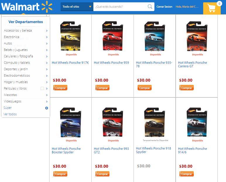 Walmart: Hot Wheels serie Porsche 30 c/u y envio gratis hoy