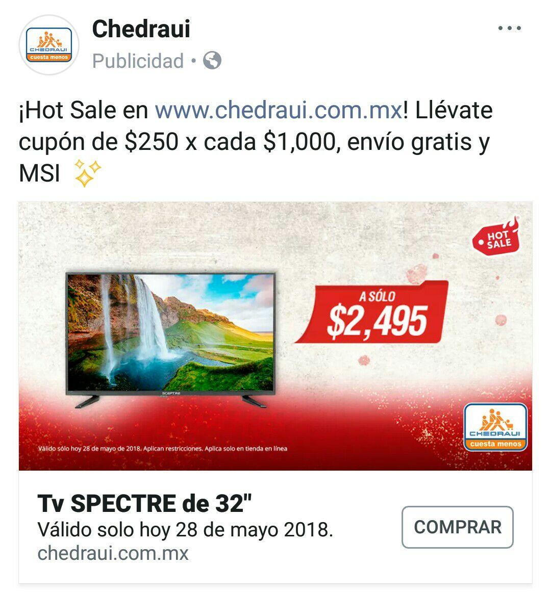 """Hot Sale 2018 en Chedraui: Pantalla Spectre 32"""" $1,995 con Bancomer + $500 de bonificación en cupones"""