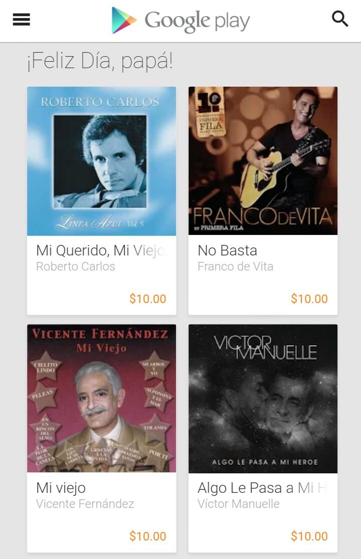 Google Play: Descuento en canciones de antaño por día del padre. Desde 10 pesos