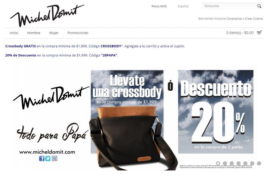 Michel Domit: Crossbody GRATIS ó 20% de Descuento en compras mínimas de $1,999