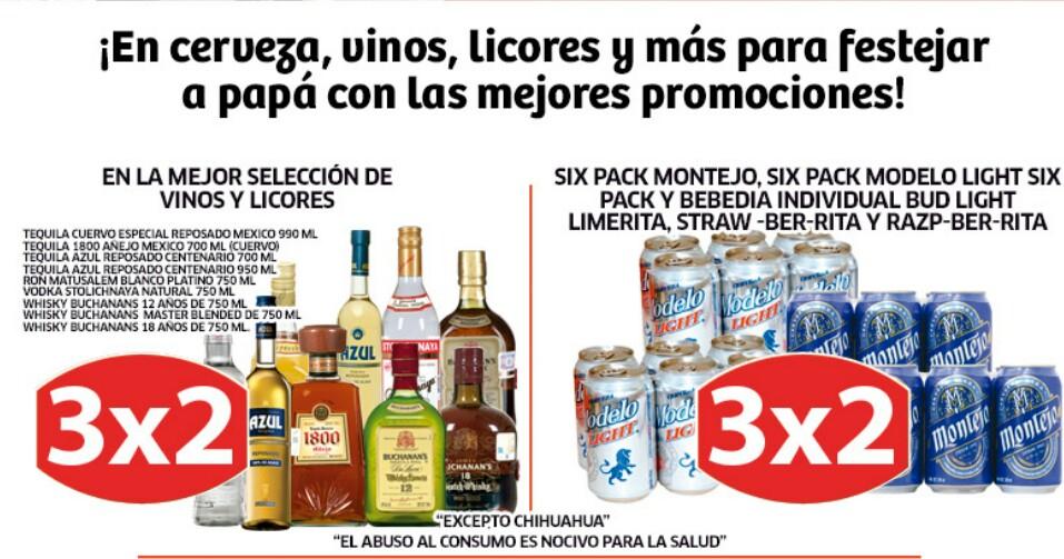 Soriana: 3x2 en algunas botellas y cervezas seleccionadas