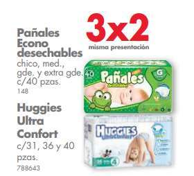 Ofertas de 3x2 en pañales en Farmacias Guadalajara y Benavides