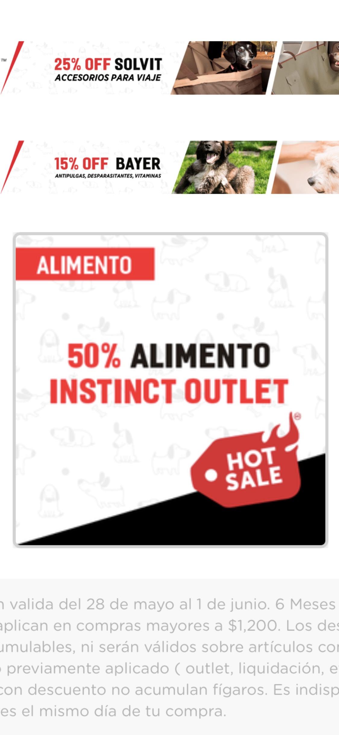 Hot Sale 2018 en Pet n Go: 50% de descuento en alimento para perro Instict, 30% + 2x1 en Praire, etc.