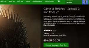 1er episodio de la serie Game of Thrones GRATIS (necesitas gold)