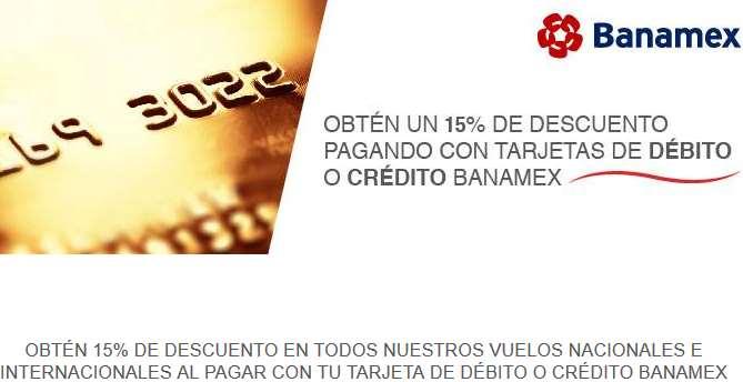 Aeroméxico: 15% de descuento en todas las rutas pagando con Banamex