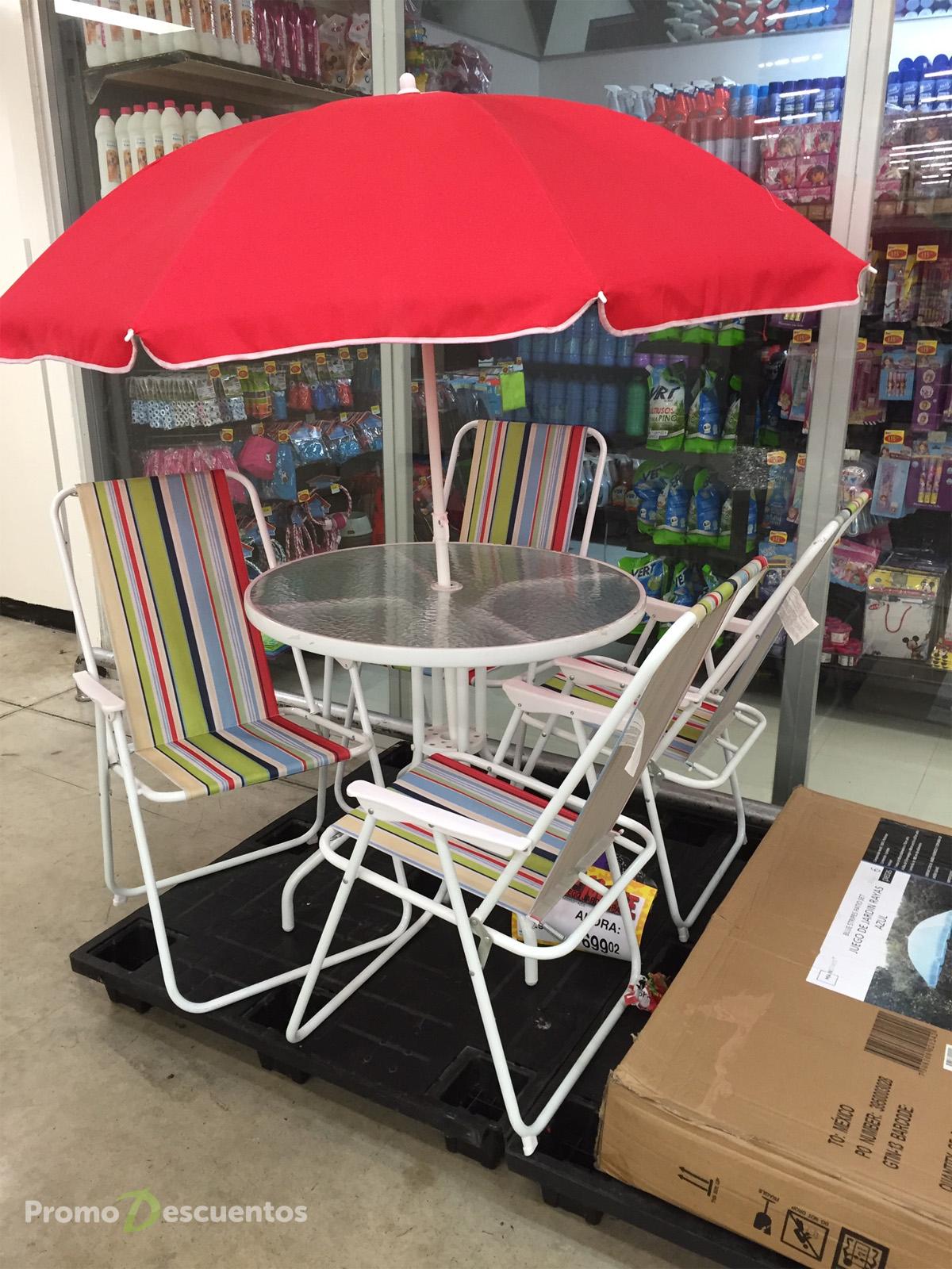 Bodega Aurrerá: juego de jardín (mesa, sombrilla y 4 sillas) a $699.02