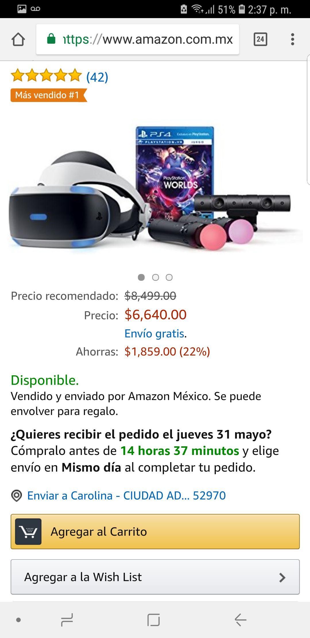 Amazon: Ps vr bundle, casco vr, juego, cámara y dos controles move