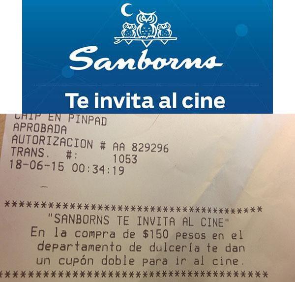 Sanborns: pase doble al cine comprando $150 en Dulceria.