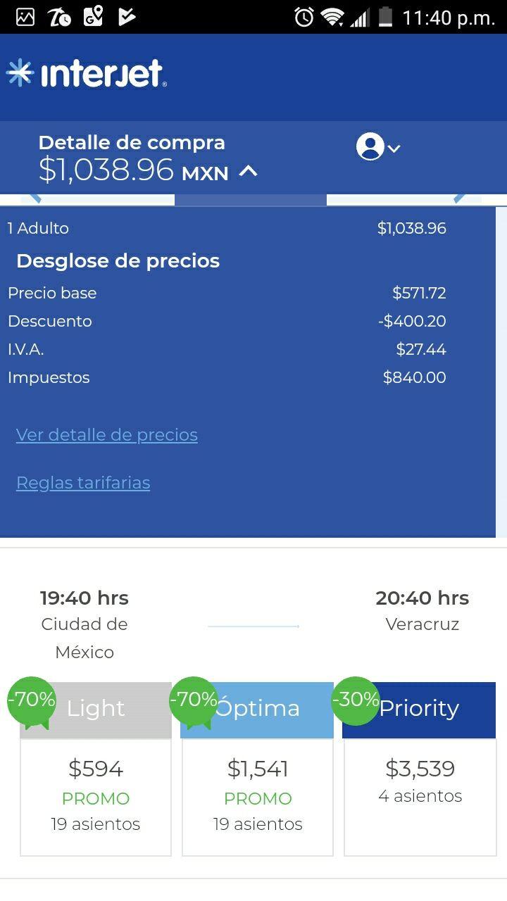Interjet: CDMX - Veracruz, vuelo Redondo. Demasiadas fechas.