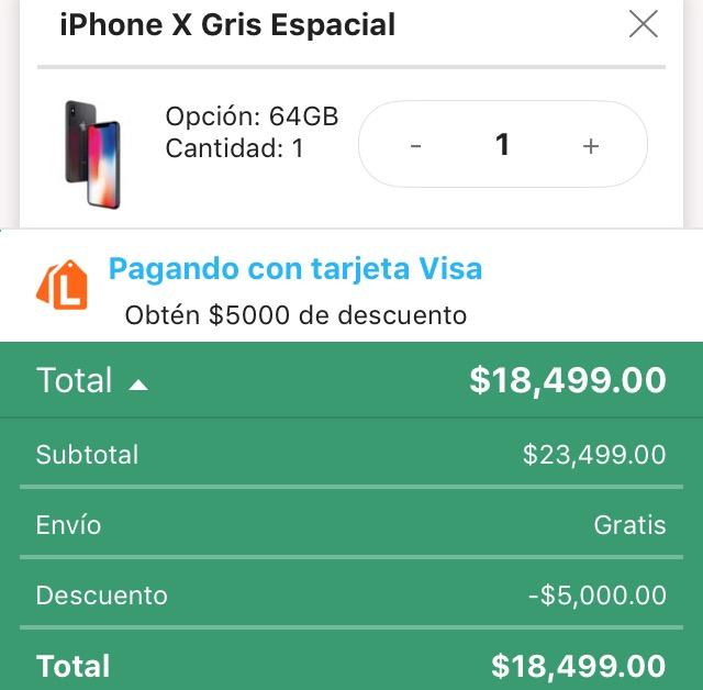 Hot Sale 2018 en Linio: iPhone X 64 GB $5,000 pesos de descuento pagando con VISA citibanamex y 1 mes de bonificación a 12msi
