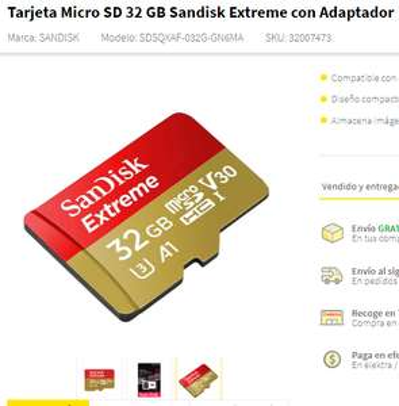 Hot Sale 2018 Elektra: Memoria Micro SD 32 Gb Clase 10 u3 & demás memorias (envio de a grapa)