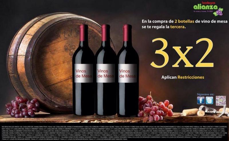 Bodegas Alianza: 3x2 en vinos de mesa