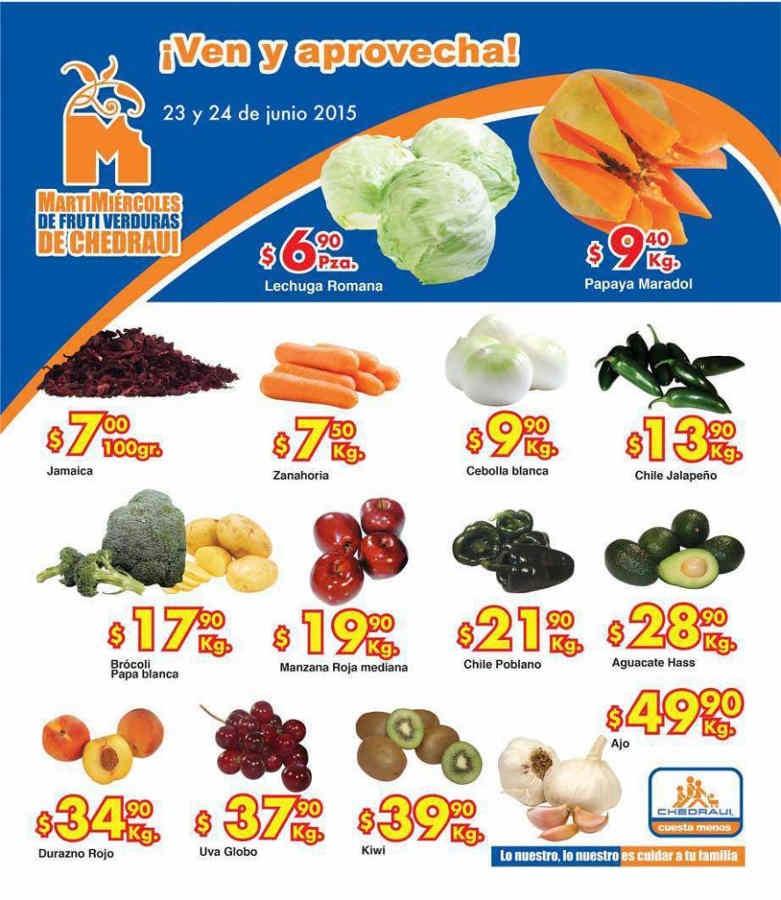 Ofertas de frutas y verduras en Chedraui 23 y 24 de junio