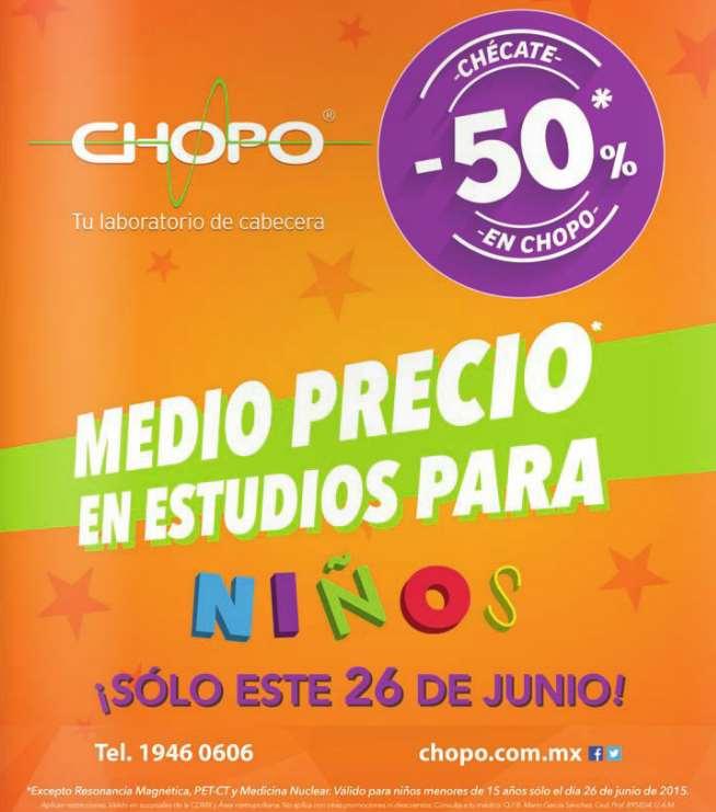 Laboratorios Chopo: 50% de descuento en estudios para niños este viernes