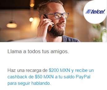 $50 de cashback al recargar $200 a Telcel con PayPal
