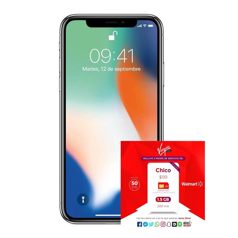Hot Sale 2018 Walmart: Iphone X 64 Telcel + Servicio de 3 meses, 1.5GB y 200 minutos (Virgin) precio con Tarjetas de Crédito Inbursa Sam´s, Walmart y Bodega