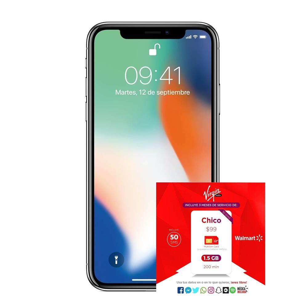 Hot Sale 2018 Walmart: Iphone X 256 Telcel + Servicio de 3 meses, 1.5GB y 200 minutos (Virgin) precio con Tarjetas de Crédito Inbursa Sam´s, Walmart y Bodega