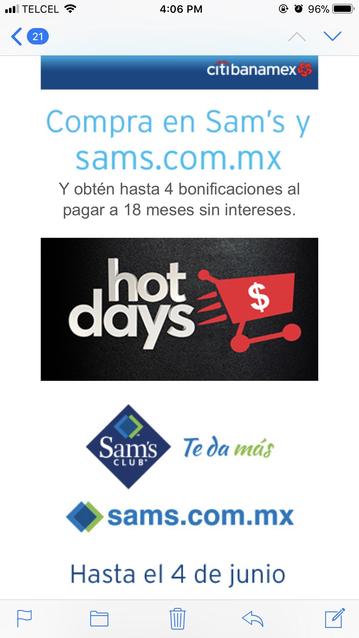 Hot Sale Sam's Club Open House: Bonificación de 4 meses pagando con Banamex a 18 MSI