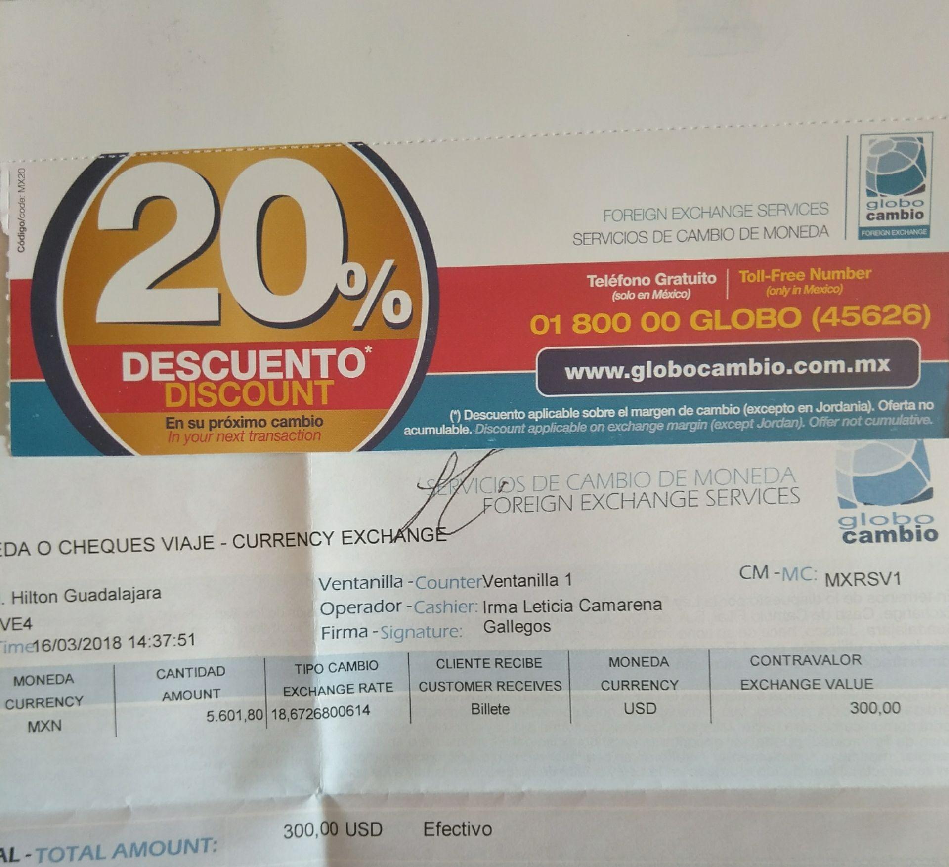 Globo Cambio: 20% dto. en tu próximo cambio. Y Cupones Cinepolis.