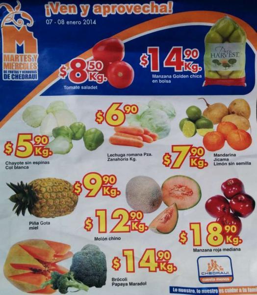 Ofertas de frutas y verduras En Chedraui 7 y 8 de enero: tomate $8.50 el kilo y más