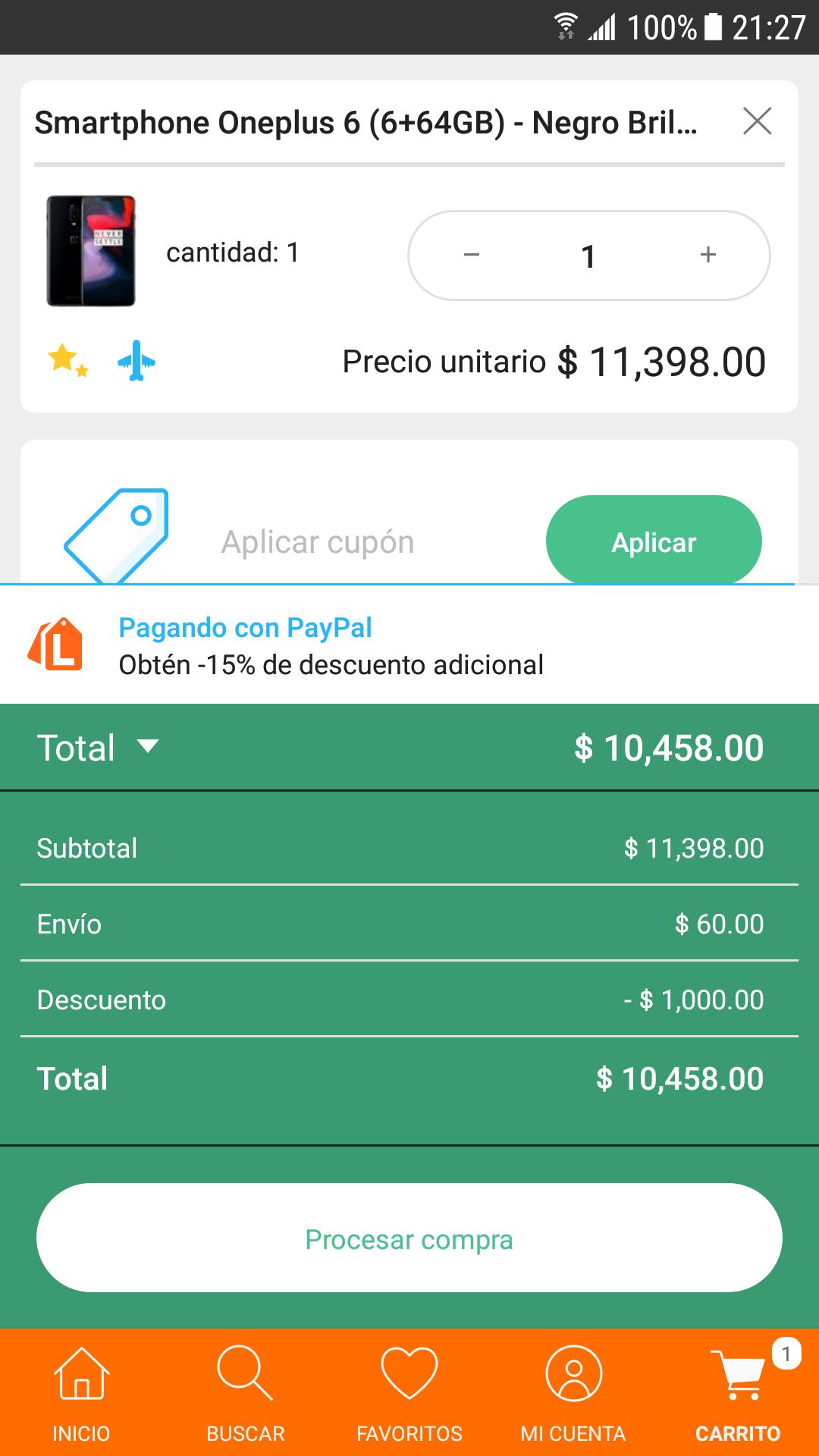 Hot Sale en Linio: OnePlus 6 6+64 Gigas con Paypal + $2,000 en cashback